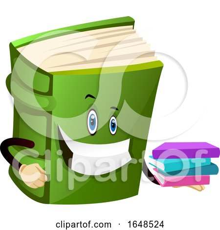 Green Book Mascot Character Holding a Stack of Novels by Morphart Creations