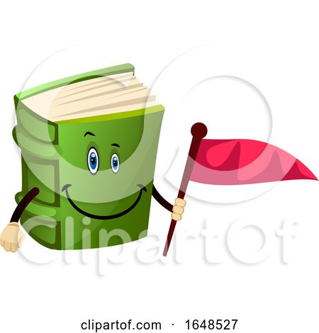 Green Book Mascot Character Holding a Flag by Morphart Creations