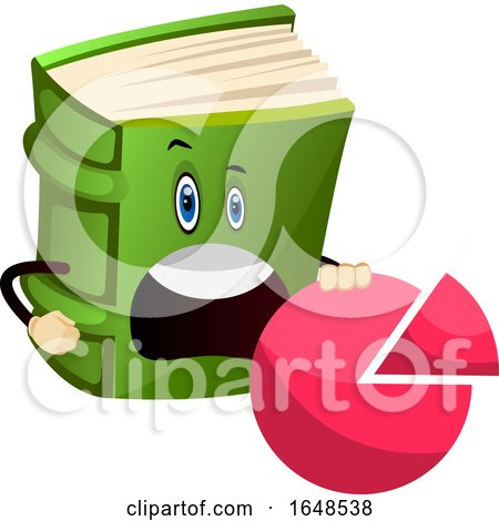 Green Book Mascot Character Holding a Pie Chart by Morphart Creations