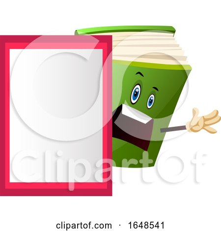 Green Book Mascot Character by a Board by Morphart Creations