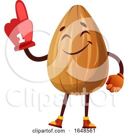Almond Mascot Character Wearing a Foam Finger by Morphart Creations