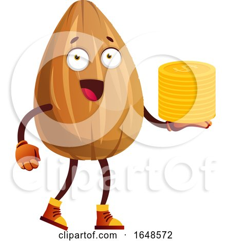Almond Mascot Character Holding a Stack of Coins by Morphart Creations