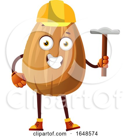 Construction Worker Almond Mascot Character Holding a Tool by Morphart Creations