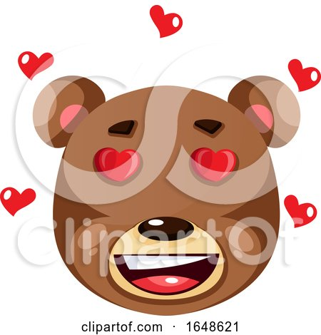 Bear Is Feeling in Love, Illustration, Vector on White Background. Posters, Art Prints