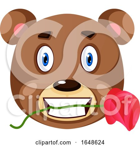 Bear Is Holding Rose in His Mouth, Illustration, Vector on White Background. by Morphart Creations