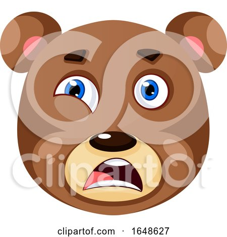 Bear Is Feeling Disappointed, Illustration, Vector on White Background. by Morphart Creations
