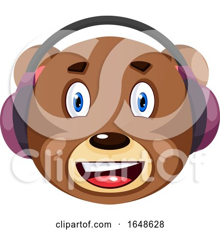 Bear with Purple Headphones On, Illustration, Vector on White Background. by Morphart Creations