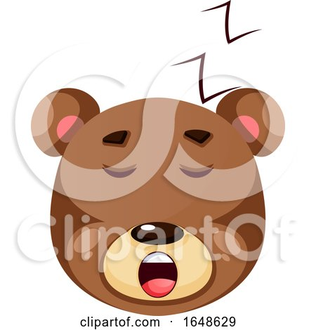 Brown Grizzly Bear Sleeping, Illustration, Vector on White Background. by Morphart Creations