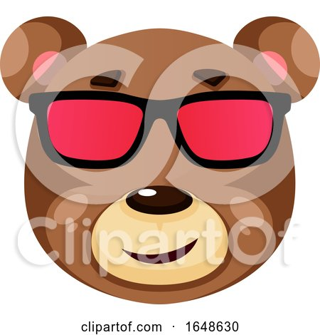 Bear Is Wearing Sunglasses, Illustration, Vector on White Background. by Morphart Creations