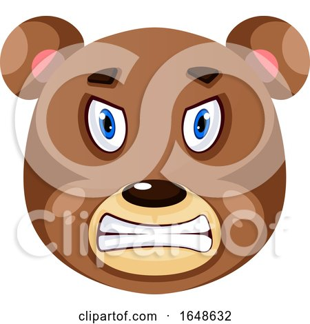 Bear Is Feeling Mad, Illustration, Vector on White Background. by Morphart Creations