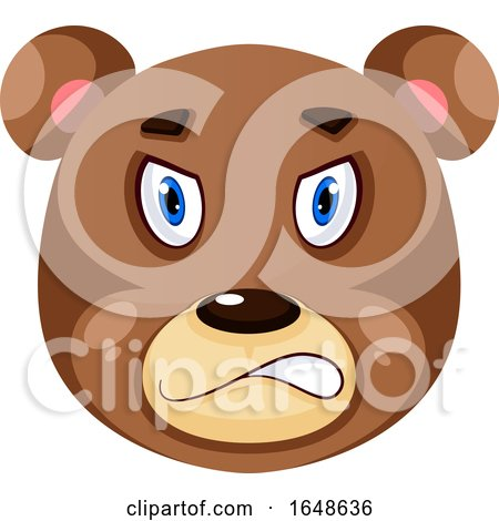 Bear Is Feeling Angry, Illustration, Vector on White Background. by Morphart Creations