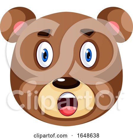 Bear Is Feeling Surprised, Illustration, Vector on White Background. by Morphart Creations