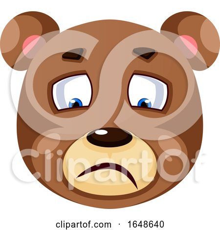 Bear Is Feeling Sad, Illustration, Vector on White Background. by Morphart Creations