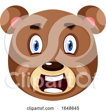 Bear Is Feeling Shocked, Illustration, Vector on White Background. by Morphart Creations