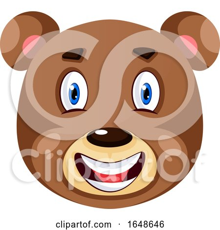 Bear Is Feeling Happy, Illustration, Vector on White Background. by Morphart Creations