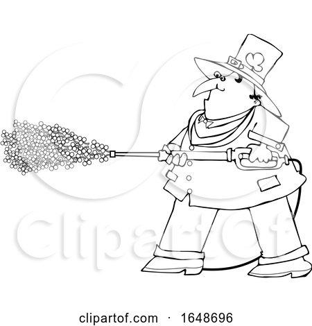 Cartoon Black and White Leprechaun Pressure Washing with Shamrocks by djart