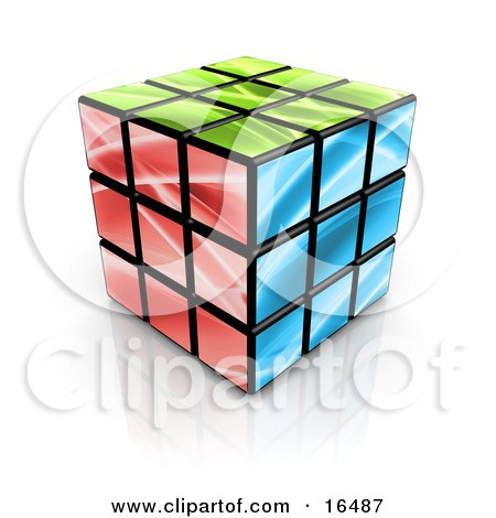 Colorful Green, Red and Blue Cube  Posters, Art Prints