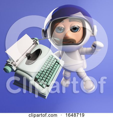 3d Astronaut With a Typewriter Posters, Art Prints