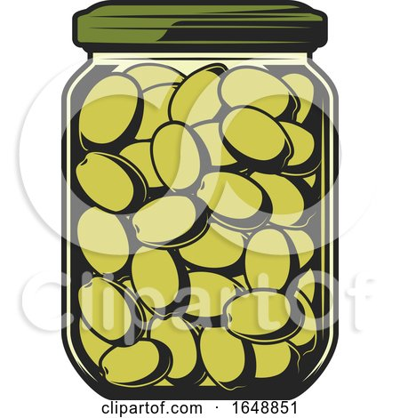 Jar of Green Olives by Vector Tradition SM
