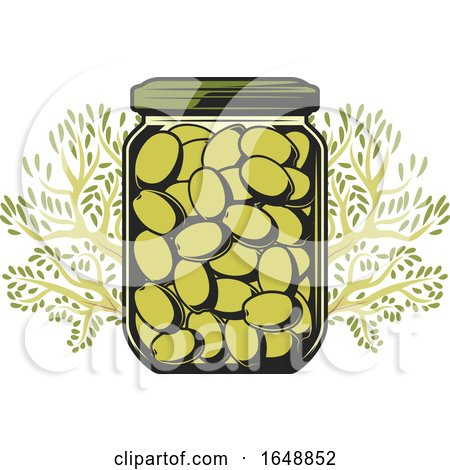 Jar of Green Olives and Tree Branches by Vector Tradition SM