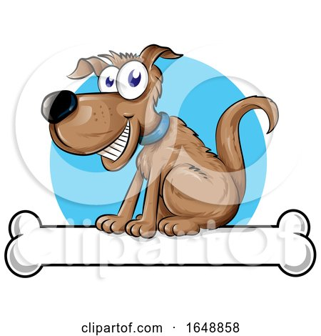 Cartoon Happy Dog Sitting on a Bone by Domenico Condello