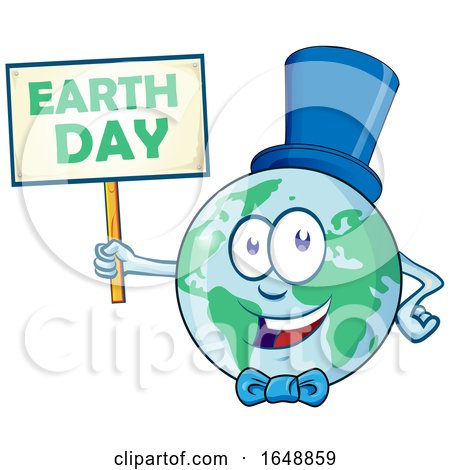 Cartoon Happy Earth Mascot Wearing a Hat and Bow and Holding a Sign by Domenico Condello