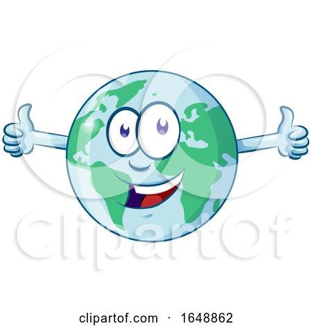 Cartoon Happy Earth Mascot Giving Two Thumbs up by Domenico Condello