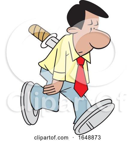 Cartoon Hispanic Man Stabbed in the Back by Johnny Sajem