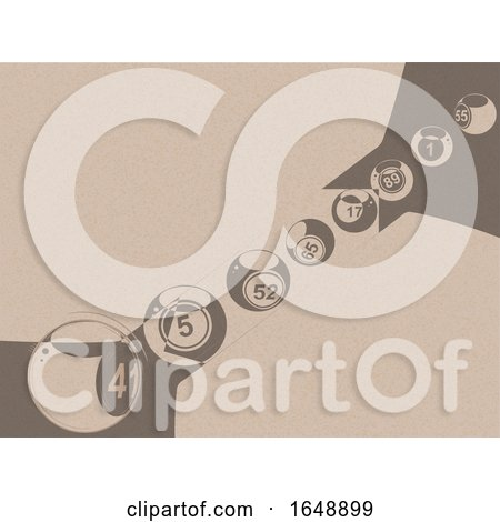 Abstract Bingo Lottery Balls on Brown Paper by elaineitalia