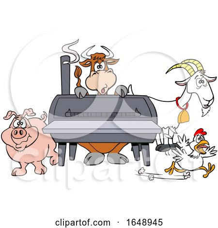 Cow Pig Goat and Chicken by a Bbq Smoker by LaffToon