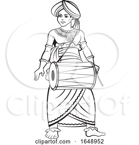 Black and White Traditional Sri Lankan Drummer by Lal Perera