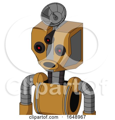 Yellowish Droid with Mechanical Head and Round Mouth and Three-Eyed and Radar Dish Hat by Leo Blanchette