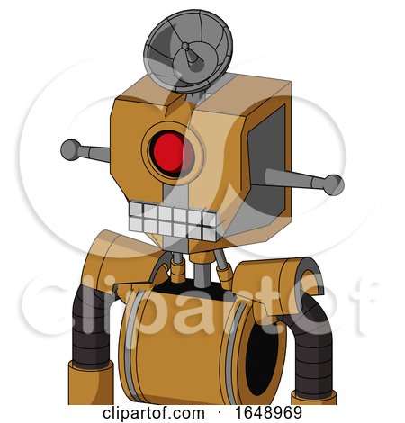 Yellowish Droid with Mechanical Head and Keyboard Mouth and Cyclops Eye and Radar Dish Hat by Leo Blanchette