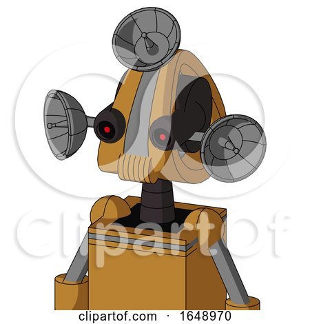 Yellowish Droid with Droid Head and Speakers Mouth and Black Glowing Red Eyes and Radar Dish Hat by Leo Blanchette