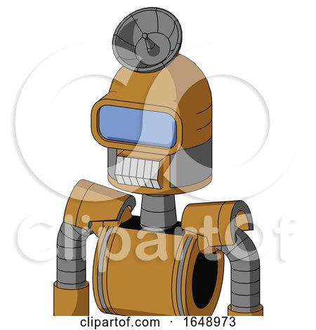 Yellowish Droid with Dome Head and Teeth Mouth and Large Blue Visor Eye and Radar Dish Hat by Leo Blanchette