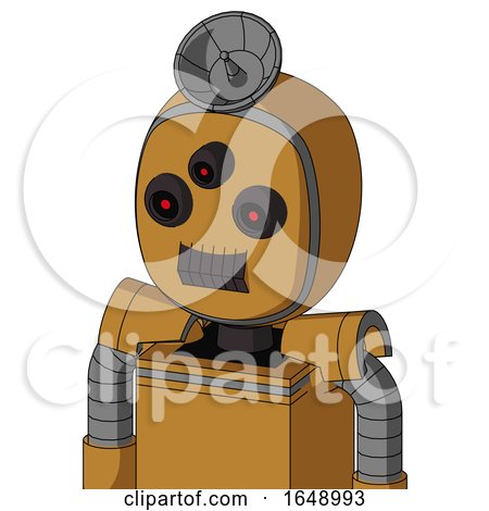 Yellowish Droid with Bubble Head and Dark Tooth Mouth and Three-Eyed and Radar Dish Hat by Leo Blanchette
