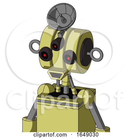 Yellow Robot with Multi-Toroid Head and Happy Mouth and Three-Eyed and Radar Dish Hat by Leo Blanchette