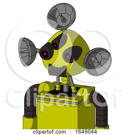 Yellow Robot with Rounded Head and Dark Tooth Mouth and Three-Eyed and Radar Dish Hat by Leo Blanchette