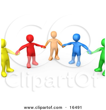 Support Group Of Colorful And Diverse People Holding Hands And Standing In A Circle Clipart Illustration Graphic by 3poD