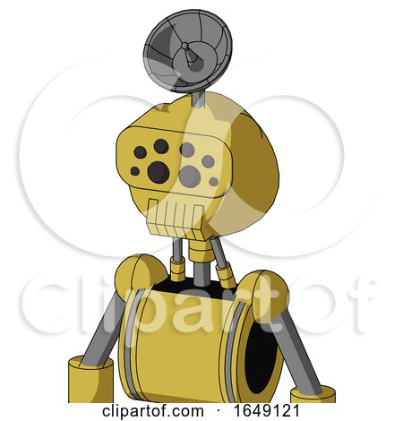 Yellow Droid with Rounded Head and Toothy Mouth and Bug Eyes and Radar Dish Hat by Leo Blanchette