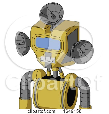 Yellow Droid with Mechanical Head and Teeth Mouth and Large Blue Visor Eye and Radar Dish Hat by Leo Blanchette