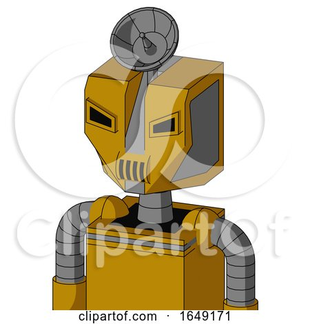 Yellow Droid with Mechanical Head and Speakers Mouth and Angry Eyes and Radar Dish Hat by Leo Blanchette