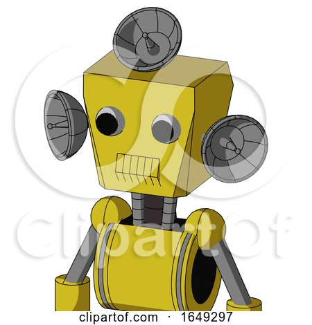 Yellow Droid with Box Head and Toothy Mouth and Two Eyes and Radar Dish Hat by Leo Blanchette