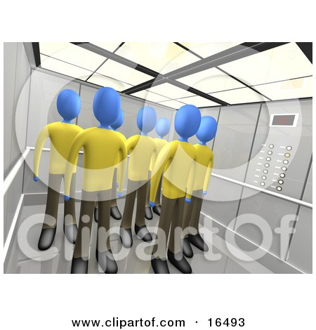 Blue People In The Same Uniforms, Standing In An Elevator, Symbolizing Teamwork Or Clones  Posters, Art Prints