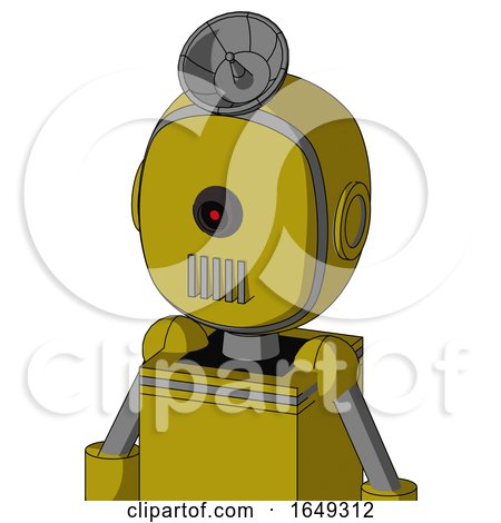 Yellow Automaton with Bubble Head and Vent Mouth and Black Cyclops Eye and Radar Dish Hat by Leo Blanchette