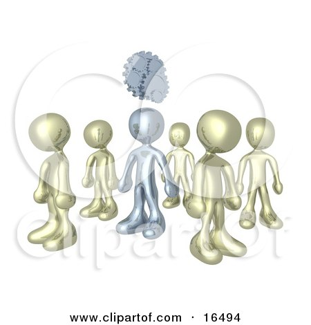 One Silver Person In A Group Of Gold People, Thinking Up A Creative Idea, With Gears Over His Head Clipart Illustration Graphic by 3poD
