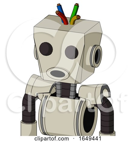 Tan Mech with Box Head and Round Mouth and Two Eyes and Wire Hair by Leo Blanchette