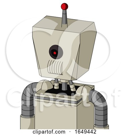 Tan Mech with Box Head and Speakers Mouth and Black Cyclops Eye and Single Led Antenna by Leo Blanchette
