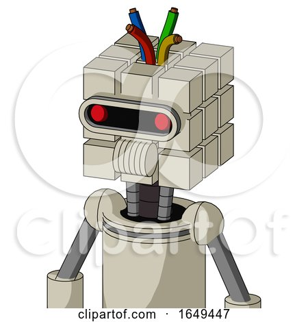 Tan Mech with Cube Head and Speakers Mouth and Visor Eye and Wire Hair by Leo Blanchette