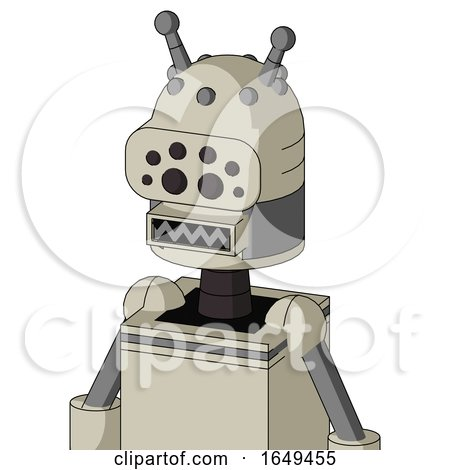 Tan Mech with Dome Head and Square Mouth and Bug Eyes and Double Antenna by Leo Blanchette